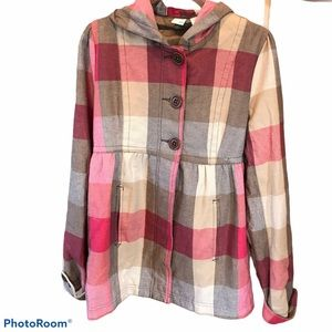 ROXY plaid pea coat flannel button hood Large